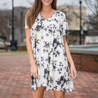 Floral About You Dress, Ivory-Black