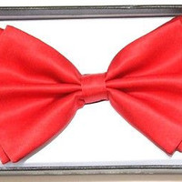 RED SOLID COLOR RED TUXEDO ADJUSTABLE BOWTIE BOW TIE-NEW GIFT BOX!RED BOWTIE