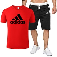 Adidas Fashion New Letter Print Sports Leisure Top And Shorts Two Piece Suit Men Red