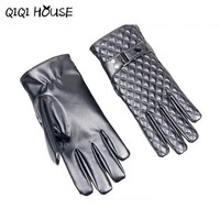 Women Leather Gloves Screen Gloves Plaid Cashmere Eleagnt Driving Outdoors Sports Women Gloves Luvas Motociclista#B817