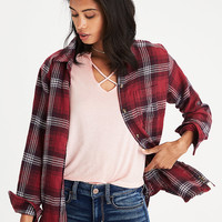 AEO Oversized Destroyed Flannel Shirt, Red