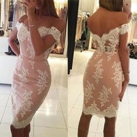 Pink Lace Off Shoulder Homecoming Dresses,Backless Knee Length Homecoming Dresses