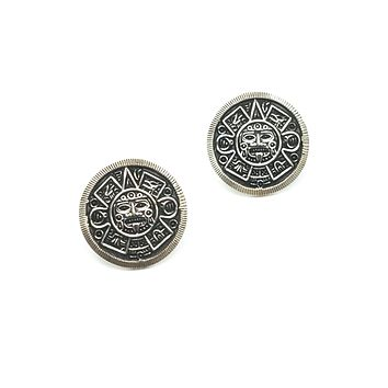 Aztec calendar Mexico MO-69 sterling silver vintage post earrings 925