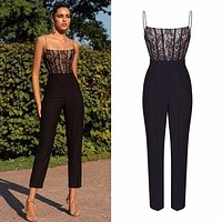 2020 new women's sexy lace suspender sleeveless jumpsuit