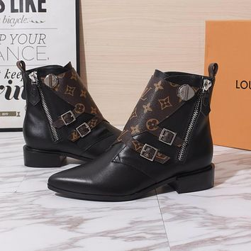 lv louis vuitton trending womens black leather side zip lace up ankle boots shoes high boots 290