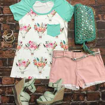 Floral Long Horn Top: Mint