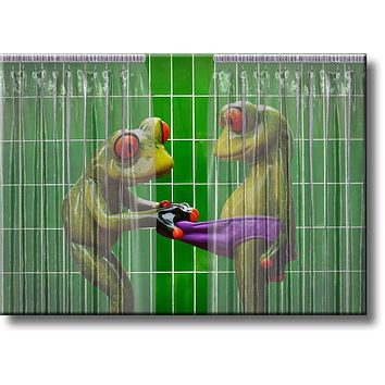 Frogs Peeking in Shower Green Bathroom Picture on Stretched Canvas, Wall Art Décor, Ready to Hang