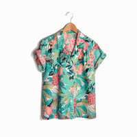 Vintage Tropical Tree Fruits Party Shirt in Coral & Teal - women's small/medium