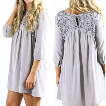 Dreams Of You Quarter Sleeve Tunic Dress With Floral Mesh Yoke