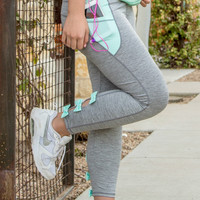 Jadelynn Brooke: Bow Back Yoga Leggings {Mint+Grey}