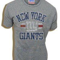 Junk Food NFL Football New York Giants True Vintage Distressed Triblend Heather Gray Adult T-shirt Tee