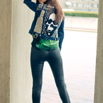 DISCHARGE Studded Denim and Leather Jacket - Punk