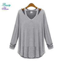 High Street New Fashion Brand Design V Neck Long Sleeve T shirt Women Tops All-match Brief Solid Casual Tshirt Plus Size