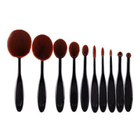 Soft 10pcs Toothbrush Shaped Foundation Power Makeup Oval Cream Puff Brushes Set