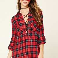 Plaid Lace-Up Shirt