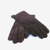 Winter gloves brown suede leather gloves soft leather gloves genuine leather gloves soviet leather gloves womans leather gloves Christmas