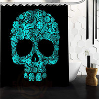 Custom Popular Flowers Sugar Skull Shower Curtain 36x72 48x72 inch Shower Curtains Bathroom decor on sale