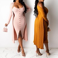 New fashion ladies sexy split sling dress jacket suit
