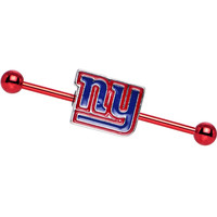Officially Licensed NFL New York Giants Industrial Barbell | Body Candy Body Jewelry