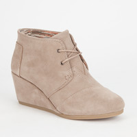 Toms Suede Womens Desert Wedges Taupe  In Sizes