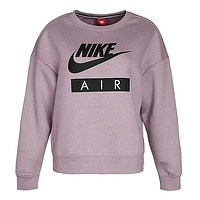 NIKE New Trending Women Stylish Letter Print Long Sleeve Round Collar Sweater Top Purple I13191-1