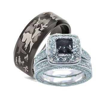 His Hers Wedding Ring Set Black Cz Sterling Silver and Camo Stainless Steel