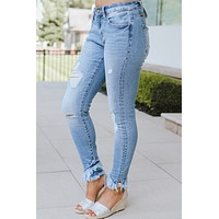 Light Distressed Frayed Angled Ankle Jean