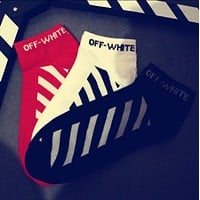 OFF-White Trending Women Men Personality Cotton Stripe Letter Print Sport Socks Ship Socks
