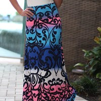 Blue and Pink Pinted Maxi Skirt