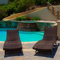 Set of 2 Outdoor Adjustable Brown Wicker Chaise Lounge Chair