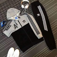 Adidas Casual Print Hoodie Top Coat Sweater Pants Trousers Set Two-piece Sportswear Grey I-PSXY