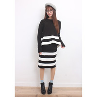 Stripe Details Rib Knit Top & Skirt Co-Ords