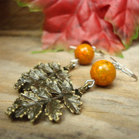 Bronze Leaf Earrings, Homemade Gift Ideas for Women, Burnt Orange Earrings, Autumn Jewelry, Handmade Beaded Earrings  (E157)