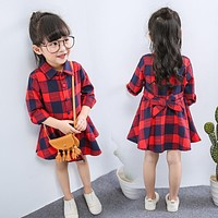 new fashion children clothing child clothes cotton long sleeve baby girl dress kids girls princess red plaid dresses with belt