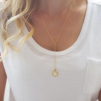 Gold long necklace, Y necklace gold, Drop necklace, Gold lariat necklace, Gemstone necklace, Minimalist necklace, Dainty gold necklace