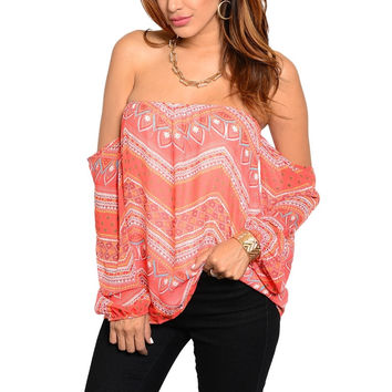 Chevron Pattern Off Shoulder Long Sleeve Boho Top in Orange