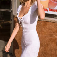 Women's French retro rope strap hip skirt Summer sexy wood ear dress