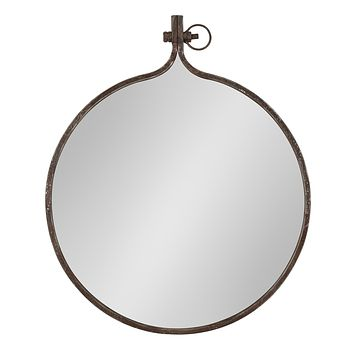 Kate and Laurel Yitro Round Industrial Rustic Metal Framed Wall Mirror, 23.5x28.5, Rustic Metal, Chic Industrial Accent Mirror for Wall Bronze