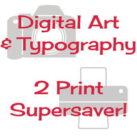 Typography Prints, Digital Illustrations, Two Prints Super-saver, Choose Any 2 Colourscape Studios Prints and SAVE