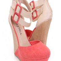 Garnet Red Faux Leather Two Tone Wedges