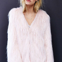 Pink Hip-length Fluffy Coat