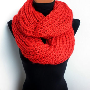 Soft Infinity Braided Cable Boho Cowl Loop Knitted Slouchy Scarf Slouch Beanie Hand Winter Red Art Adult Teen Colors Art Chunky GiftHandmade