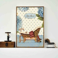 pastoral bathroom landscape cartoon canvas printings oil painting printed on canvas wall art decoration pictures free shipping