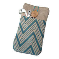 iPhone 6 Plus sleeve / Iphone 5s cover / HTC One sleeve / Nokia Lumia / LG G3 / iphone 4s case - Linen Blue chevron