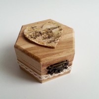 Engagement ring box,  rustic style cotton lace shabby chic brown cream lace handmade satin flower rose birch bark heart small box