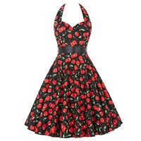 Casual Summer Womens Sexy&Club Skater Dresses Polka Cherry Retro Vintage 50s Robe Rockabilly Swing Pinup Party Dress