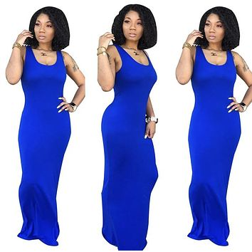 Woman's Casual U Neck Sleeveless Floor Length Maxi Dress
