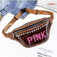 Victoria Fashion New Letter Diamond Transparent Waist Bag Shoulder Bag Chest Bag Women Coffee