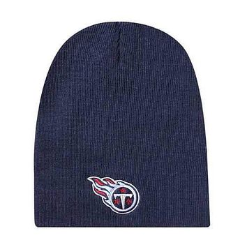 Tennessee Titans Knit Non-Cuffed Style Navy Beanie