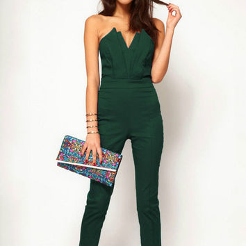 V-neck Strapless Backless Jumpsuit